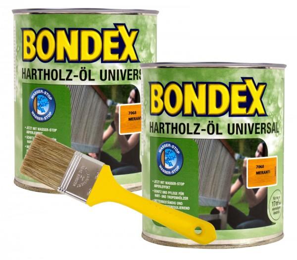 Bondex Hartholzöl Universal meranti 2 x 0,75 l inkl. Pinsel