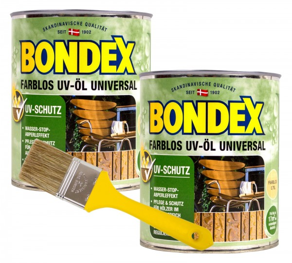 Bondex Farblos UV-Öl Universal farblos 2 x 0,75 l inkl. Pinsel