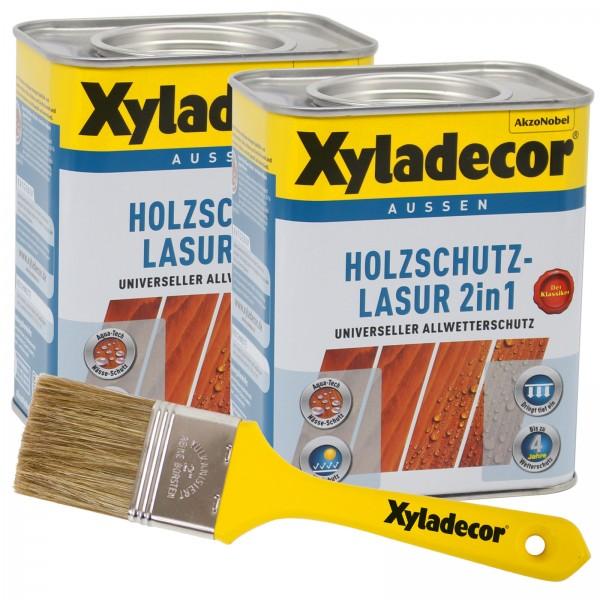 Xyladecor 2in1 Holzschutzlasur 1,5 l Set mit Pinsel