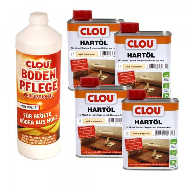 Clou Set für Holzböden 4 x 0,75l Hartöl & 1 l Reiniger