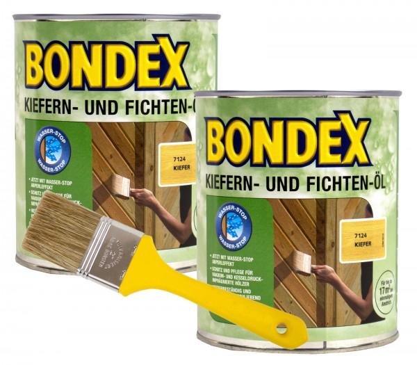 Bondex Kiefern- und Fichtenöl kiefer 2 x 0,75 l inkl. Pinsel
